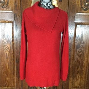 Vince Camuto Bright Red Long Sleeve Cowl Neck Oversized Sweater